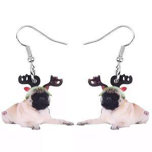🎄🎄🎄 Acrylic Pug Reindeer Earrings